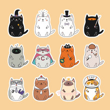 Set Of Kawaii Stickers With Fat Cats, Unicorn, Sailor, Pirate, Witch, Princess, Superhero, Astronaut, Detective, Ninja. Isolated Objects Hand Drawn Vector Illustration Design Concept Kids Print