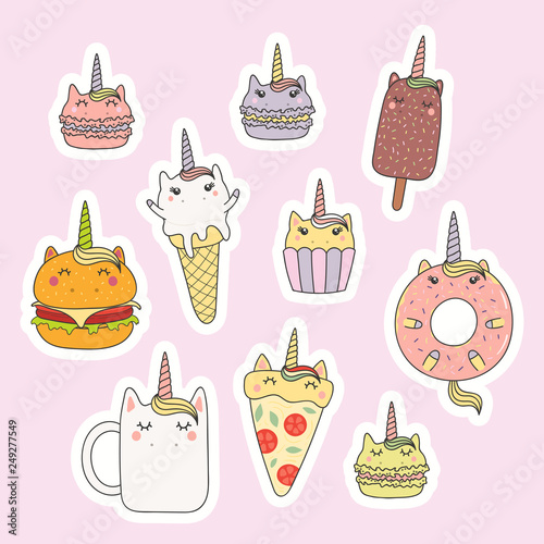 Printed kitchen splashbacks Illustrations Set of kawaii stickers with foods with unicorn horn, ears, macarons, pizza, burger, ice cream, cupcake, donut, coffee. Isolated objects. Hand drawn vector illustration. Design concept kids print