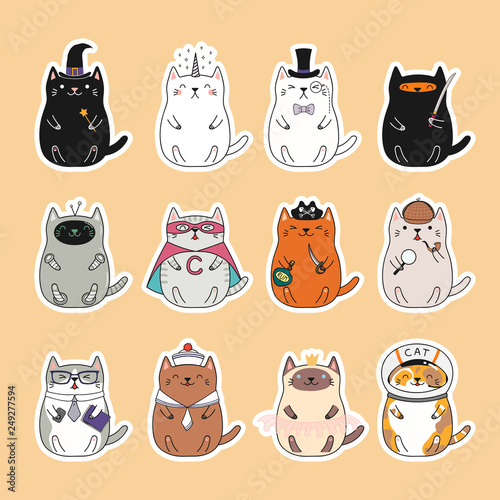 Papiers peints Des Illustrations Set of kawaii stickers with fat cats, unicorn, sailor, pirate, witch, princess, superhero, astronaut, detective, ninja. Isolated objects Hand drawn vector illustration Design concept kids print