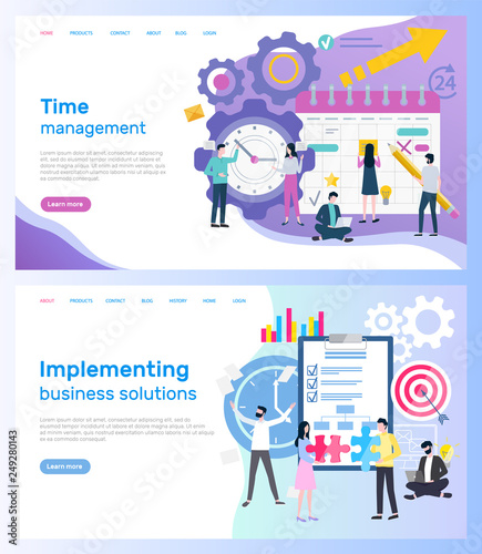 Time management and implementing business solutions vector Wallpaper Mural