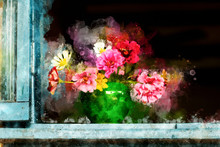 Colorful Flowers In Chinese Pottery