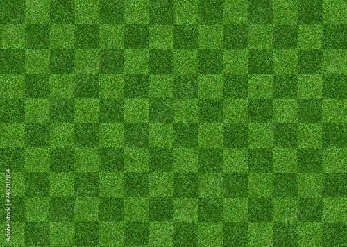 Foto auf AluDibond Grun Green grass field background for soccer and football sports. Green lawn pattern and texture background. Close-up.