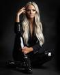 Leinwandbild Motiv blond lady with beautiful hair on grey