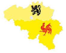 Vector Map Of Belgium With The Three Regions Flemish, Wallonia And The Capital Brussels In Flag Shape