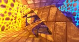 Abstract  Concrete Futuristic Sci-Fi interior With Yellow And Blue Glowing Neon Tubes . 3D illustration and rendering.