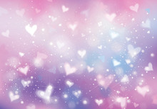 Vector Unicorn Background With  Hearts, Lights And Stars.  Holiday Background.