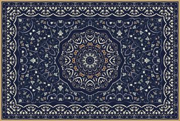 Vintage Arabic pattern. Persian colored carpet. Rich ornament for fabric desi...