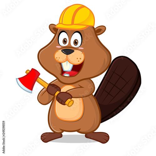 Fotobehang Beren Beaver wearing helmet carrying axe