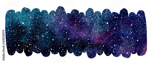 Fényképezés  Cosmic, starry space watercolor background