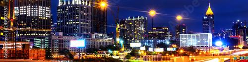 Fotografía  Illuminated Midtown in Atlanta, USA at night. Car traffic