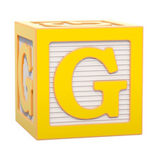 ABC Alphabet Wooden Block With G Letter. 3D Rendering