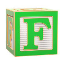 ABC Alphabet Wooden Block With F Letter. 3D Rendering