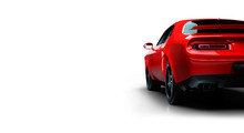 Rear Left Angle View Of A Generic Red Brandless American Muscle Car Isolated On A White Background . Transportation Concept . 3d Illustration And 3d Render.