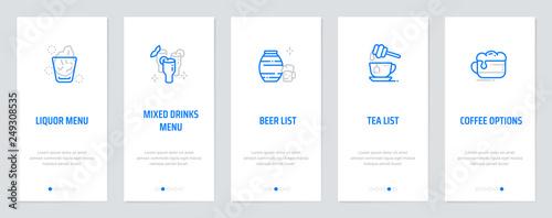 Liquor menu, Mixed drinks menu, Beer list, Tea list, Coffee options