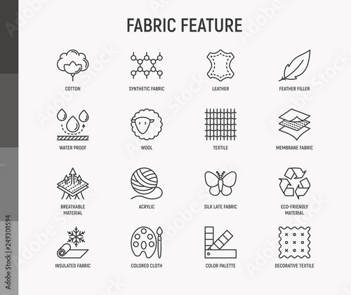 Fotografia Fabric feature thin line icons set: leather, textile, cotton, wool, waterproof, acrylic, silk, eco-friendly material, breathable material