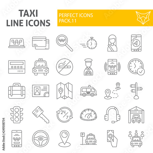 Taxi thin line icon set, car symbols collection, vector