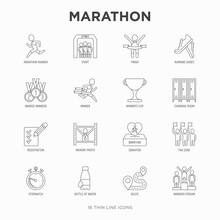 Marathon Thin Line Icons Set: ...
