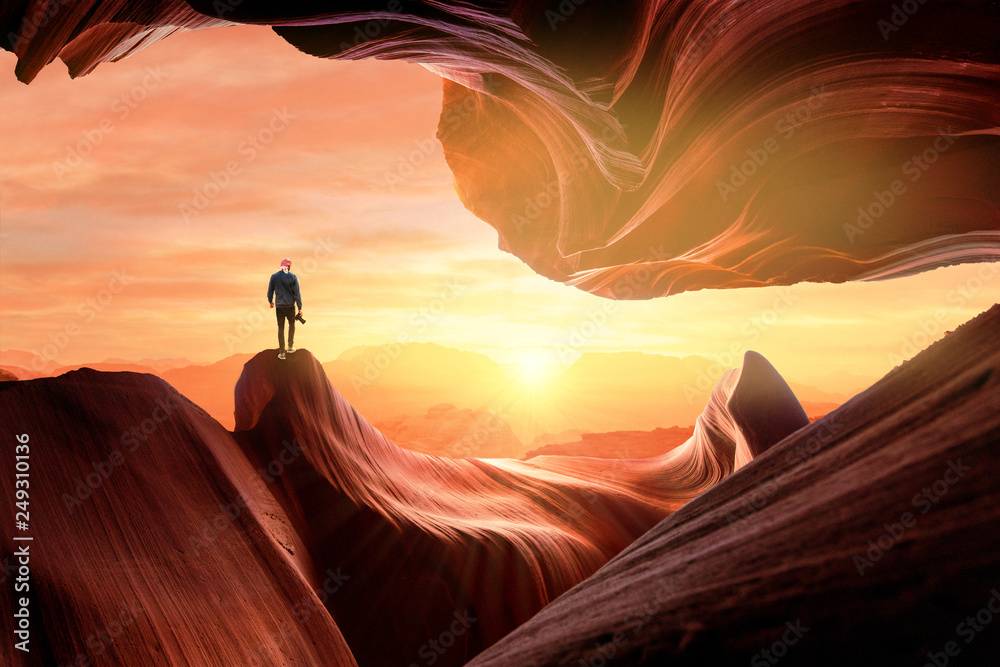 Fototapety, obrazy: Tourist on amazing smooth rocks of canyon