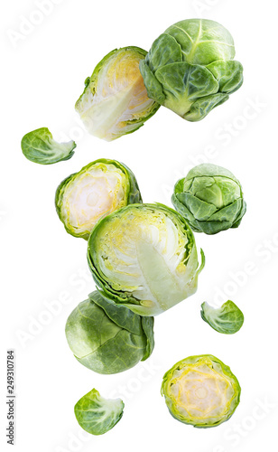 Stickers pour portes Bruxelles Brussels cabbage falling down. Isolated on white background