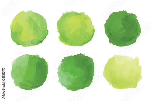 Photo  Hand drawn bright green brush shapes