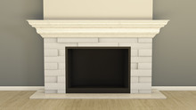 3D Render Of A Fireplace With ...