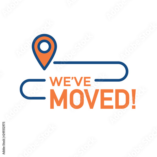 Fotografía  We've Moved Sign with Text Typography & icon to convey moving