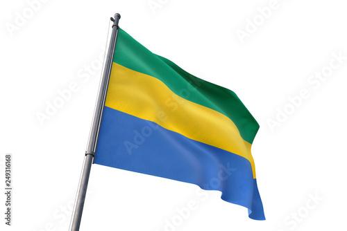 Fotografie, Obraz  Gabon flag waving isolated white background 3D illustration
