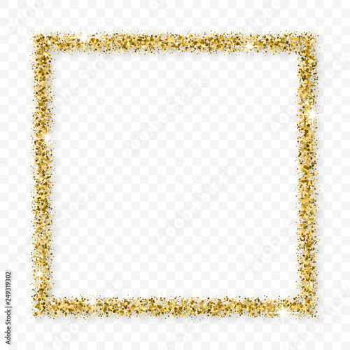 Photo Gold Glitter Frame With Bland Shadows Isolated On Transparent  Background