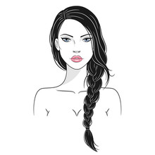 Vector Illustration Of A Beautiful Young Woman With Long Hair