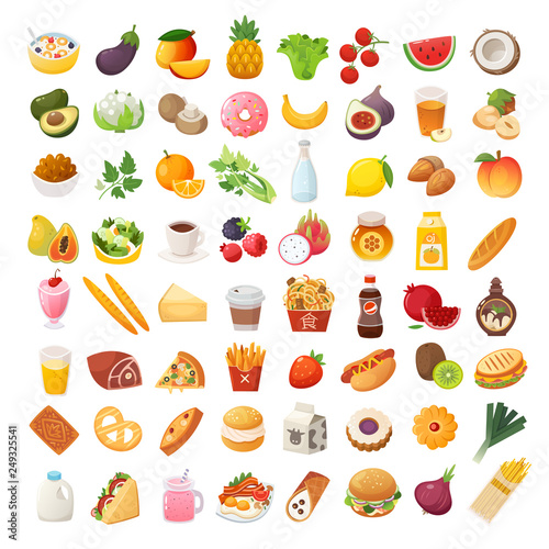 Fototapeta Set of colorful food icons. Bakery, dairy food, fruit and vegetables. Desserts fast food and pasta images. Isolated vector cartoon icons on white background. obraz