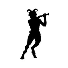 Satyr Faun Flute Game Silhouette Ancient Mythology Fantasy. Vector Illustration.
