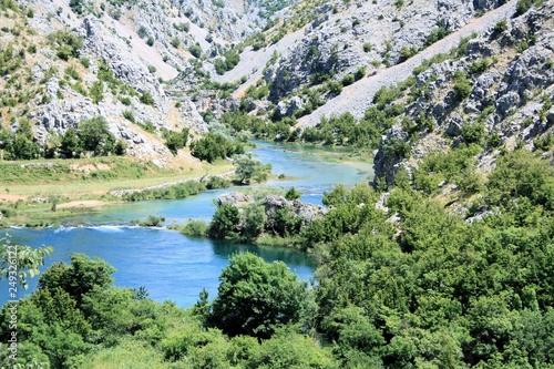 Fotobehang Olijf Zrmanja canyon and river near Muskovici, Croatia