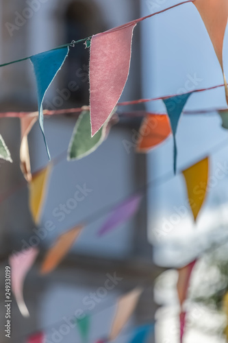 Photo  View of traditional decoration of religious festivals on the villages, with colo