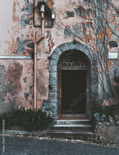 Valokuva  An antique metal door in the recess of a stone arch in the wall with a pink flak