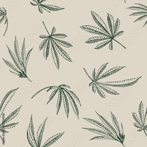 Fototapeta Vector outline Seamless pattern of hemp plant on a beige background cannabis texture obraz