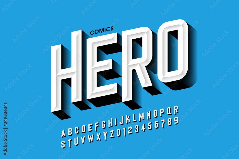 Komiksowy styl czcionki bohatera, litery i cyfry alfabetu