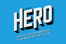Comics Hero Style Font Design, Alphabet Letters And Numbers