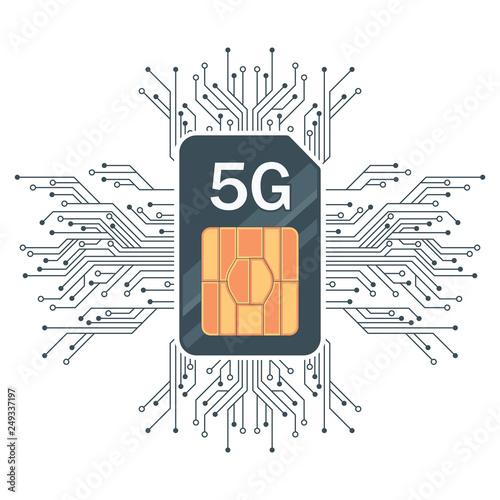 Fotografie, Obraz  Flat 5G Sim Card echnology background, with microelectronics.