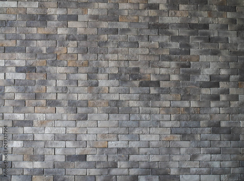 Fotobehang Graffiti Wide Beige brick wall panoramic background texture. Home and office design backdrop