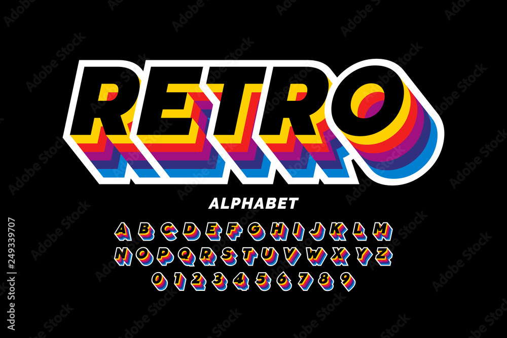Fototapety, obrazy: Retro style colorful font design, alphabet letters and numbers