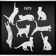 Vector White Cats In Style Of Poly Low On Black Background