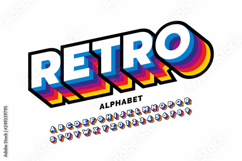 Retro style colorful font design, alphabet letters and numbers - fototapety na wymiar