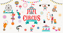 Circus Banner And Background W...