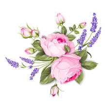 Spring Flowers Bouquet Of Color Bud Garland. Label With Rose Flowers. Bouquet Of Aromatic Lavender Flowers. Invitation Card Template With Violet Flowers Of Lavender. Vector Illustration.