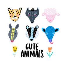 Set Of Cute Animal Faces - Lam...