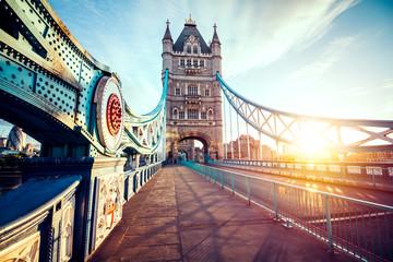 Fototapeta na wymiar Spectacular Tower Bridge in London at sunset