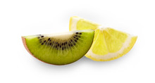 Slice Of Lemon And Slice Of Kiwi  On The White Background