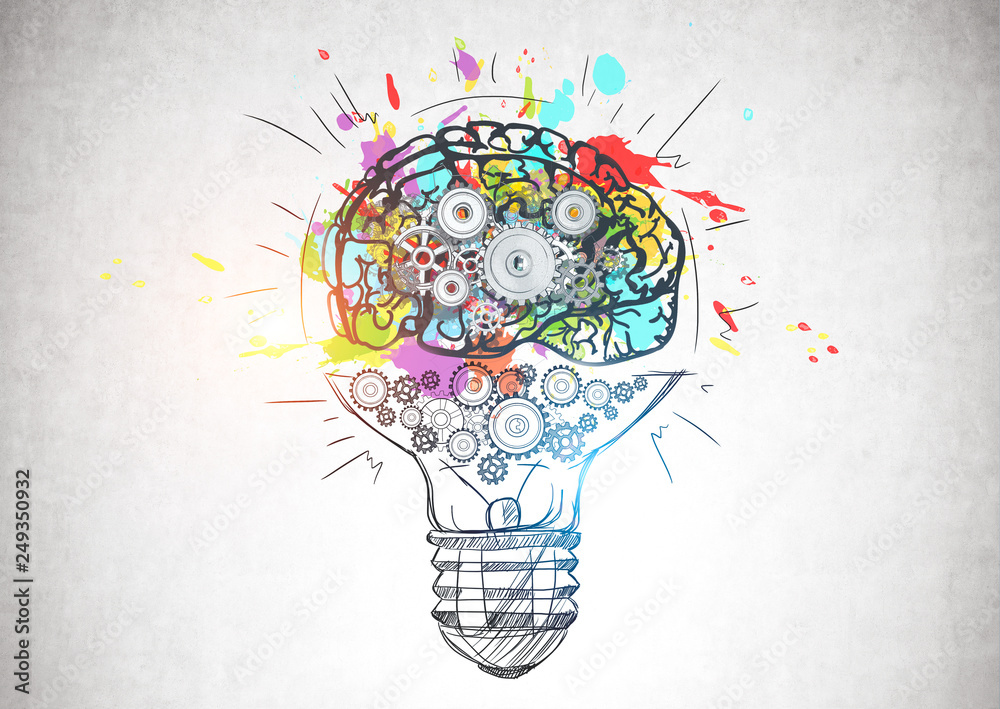 Fototapety, obrazy: Light bulb with gear brain, creative thinking