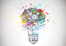Light Bulb With Gear Brain, Cr...