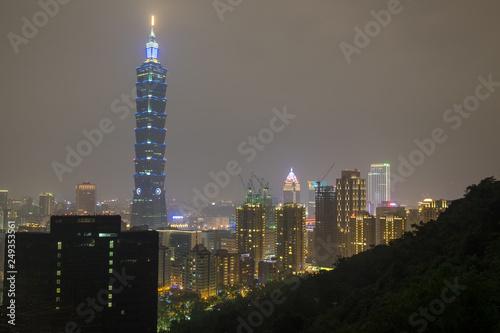 фотография  The Taipei 101 and Taipei city night view